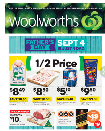 woolworth special august 31 2016
